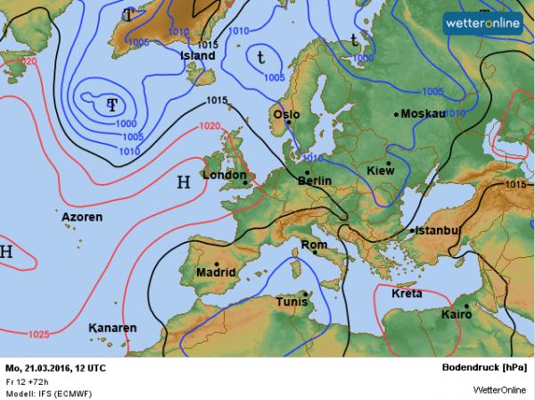 De weerkaart voor maandag. Aan de oostflank van het hogedrukgebied trekt een storing met regen of buien naar het zuidoosten.