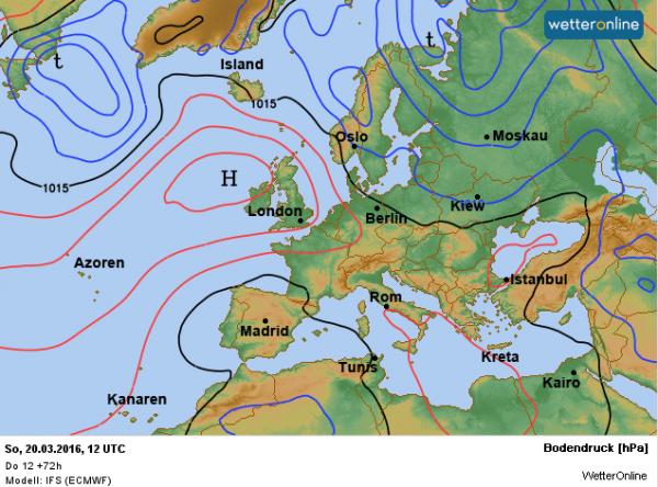 De weerkaart voor zondag. Het hoog Joachim ligt ten westen van Ierland en aan de oostflank worden wolkenvelden aangevoerd met lokaal wat gespetter.