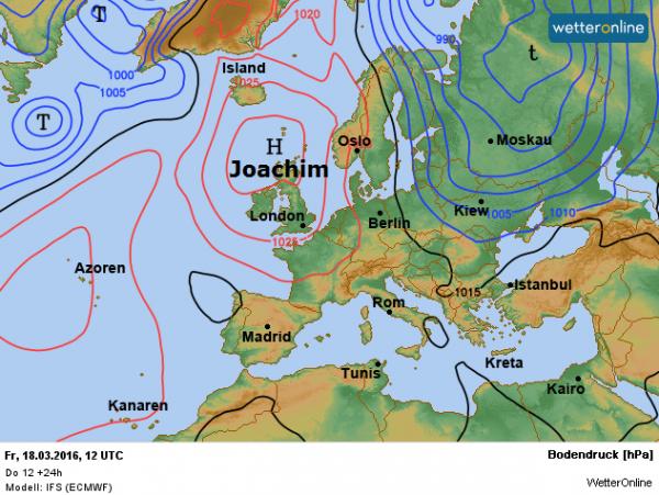 De weerkaart voor vandaag volgens ECMWF. Aan de oostflank van het hoog Joachim wordt met een noordelijke stroming vochtige polaire lucht aangevoerd.