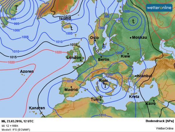 De weerkaart voor volgende week woensdag. Lagedruk wordt bepalend voor ons weerbeeld.