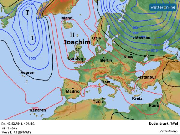 De weerkaart voor vandaag volgens ECMWF. Het hoog Joachim is nog altijd bepalend voor ons weer.