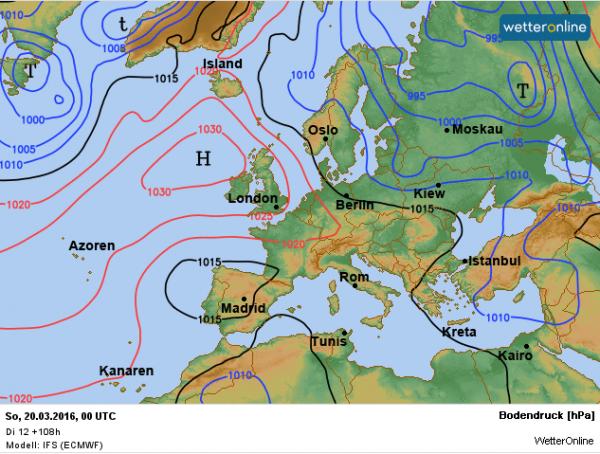 de weerkaart voor het weekend. Het hoog Joachim trekt naar het westen en aan de oostflank van het hoog kunnen storingen onze streken bereiken.