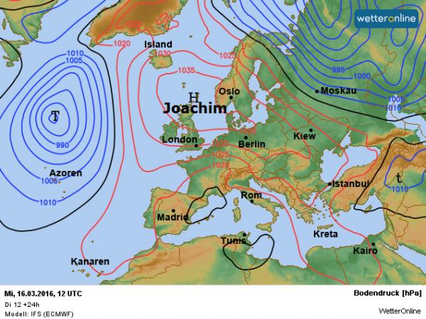 De weerkaart van vandaag volgens ECMWF. Het hoog Joachim is nog altijd weersbepalend.