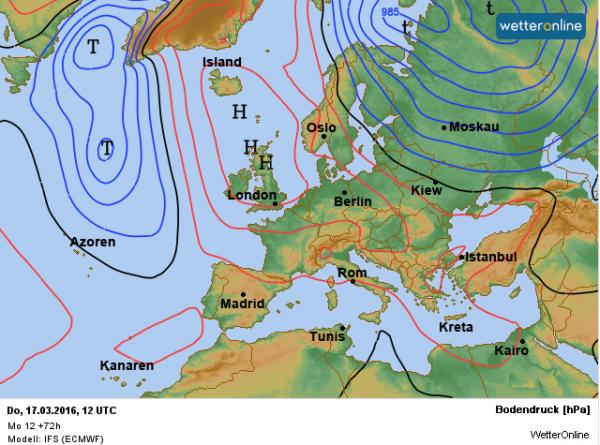 De weerkaart voor donderdag. We profiteren van een uitloper van het hoog Joachim.