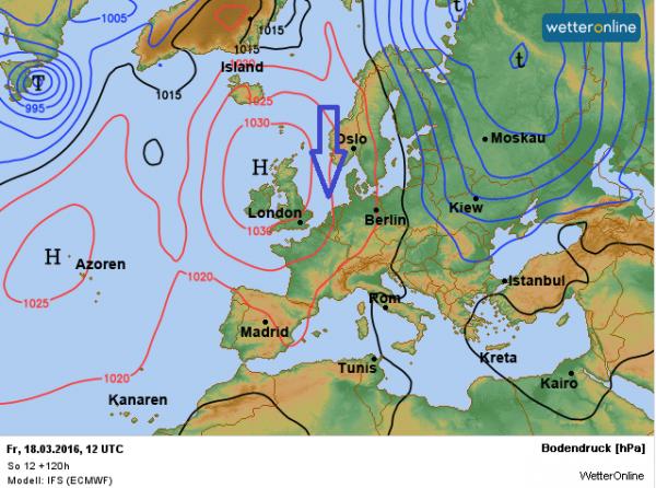 De weerkaart voor vrijdag 18 maart volgens ECMWF.
