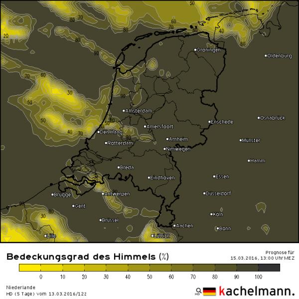 Morgen is het over het algemeen bewolkt. Kaartje voor morgenmiddag 13 uur volgens het Duitse HD model. Bron: Kachelmannwetter.com