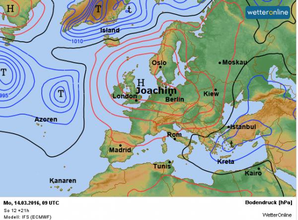 De weerkaart voor deze maandag de 14e maart 2016 volgens ECMWF.
