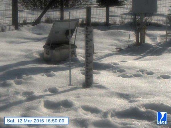 Er lag gistermiddag nog steeds zo'n 20 centimeter sneeuw op de Mont-Rigi (670 m). Bron: RMI.
