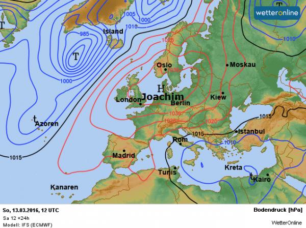 de weerkaart van vandaag, zondag 13 maart, volgens ECMWF.