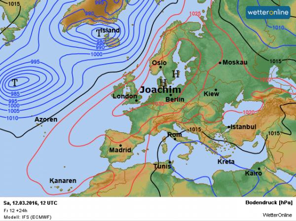 De weerkaart van vandaag volgens EC. Een groot hogedrukgebied, genaamd Joachim, is bepalend voor ons weer.
