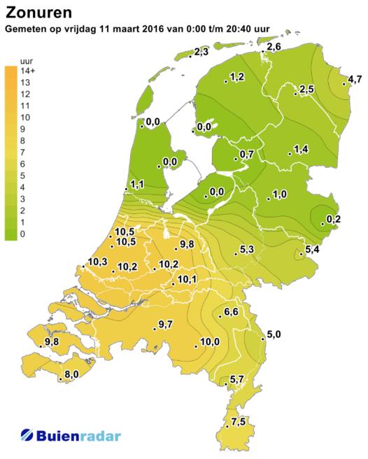 Het zonurenkaartje van gisteren. Bron: Buienradar.nl