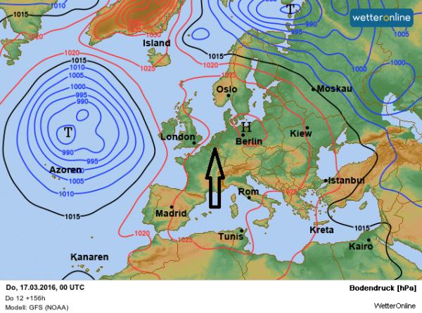 weerkaart voor later komende week volgens GFS. De stroming komt uit het zuiden aan de westflank van het hogedrukgebied ten oosten van onze contreien.