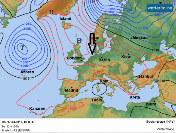 weerkaart voor later komende week volgens ECMWF. De stroming komt uit het noorden aan de oostflank van het hogedrukgebied boven Schotland.