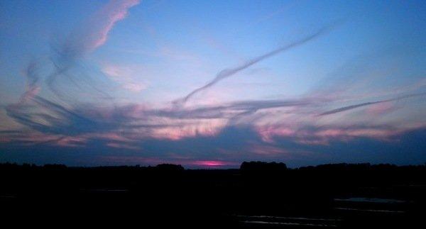 Deze fraaie foto ontving ik van Carel ten Hoor met als titel 'zonsondergang van Picasso'. Een waar kunstwerk van allerlei cirrus.