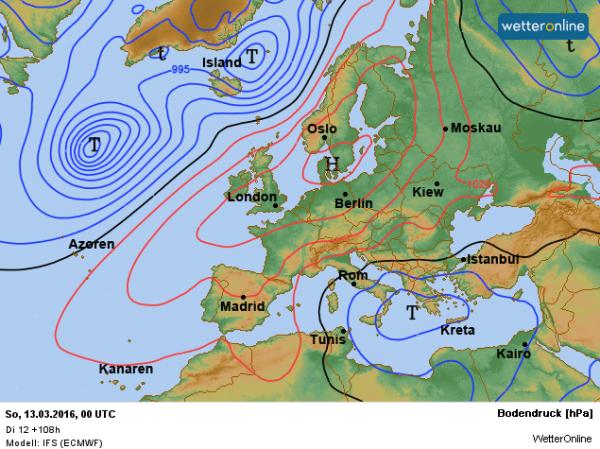 de weerkaart voor het komende weekend volgens EC. We profiteren van hogedruk.