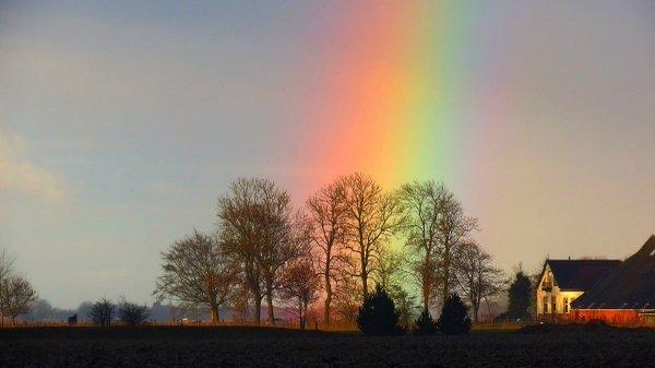 Regenbogenweer gisteren. Deze gekleurde foto werd gemaakt door Jannes Wiersema.