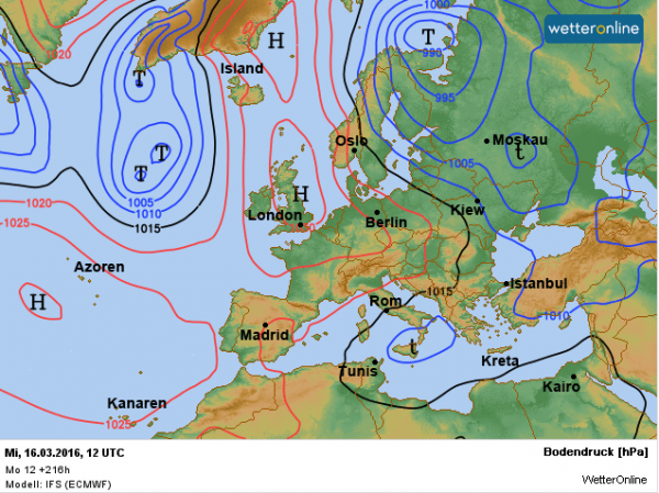 De weerkaart voor volgende week woensdag volgens EC. De stroming komt uit het hoge noorden en de temperaturen worden weer wat lager.