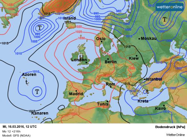 De weerkaart voor volgende week woensdag volgens GFS. De stroming komt uit gematigde breedten en de temperaturen zijn hoger dan bij EC.