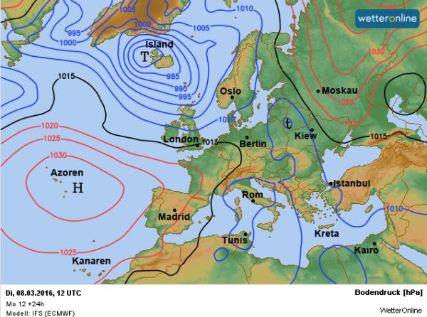 De weerkaart voor vandaag volgens EC. We profiteren van een uitloper van het Azorenhoog.