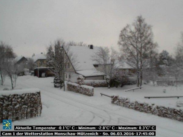 Op de webcam van Mützenich is mooi te zien dat er flink wat sneeuw ligt in de Hoge Venen.