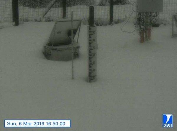 Op de Mont-Rigi (670 m) lag gistermiddag ruim 20 centimeter sneeuw. Bron: RMI