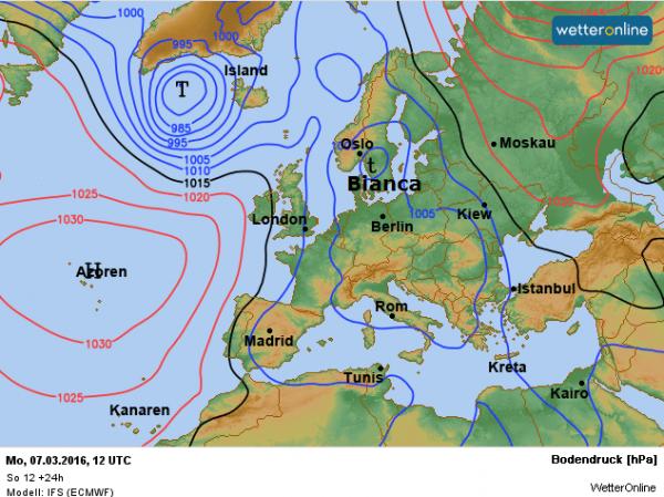weerkaart voor vandaag volgens ECMWF.