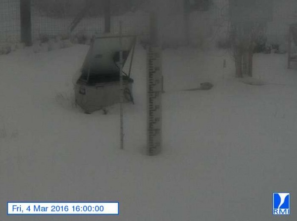 Op de Mont-Rigi (670 m) lag gistermiddag ruim 15 centimeter sneeuw. Bron: RMI