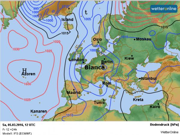 De weerkaart van vandaag volgens EC.