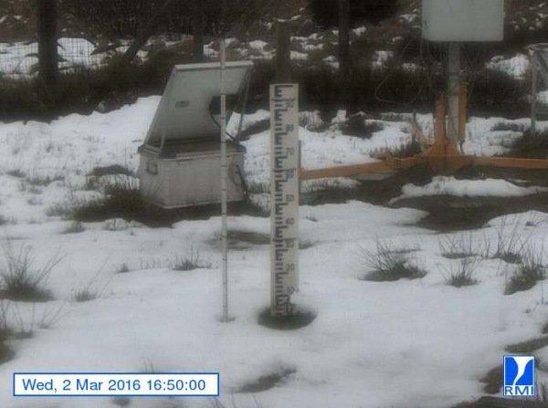 Gisteren aan het eind van de middag lagen er wat sneeuwresten op de Mont Rigi (670 meter hoogte)