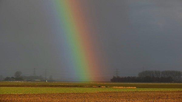 Er kwamen gisteren later op de dag flinke buien voor met een winters karakter. Ook de regenboog werd veelvuldig gezien. foto is van Jannes Wiersema.