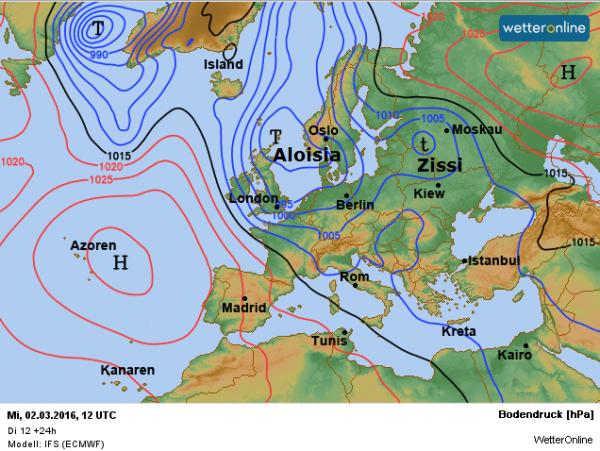 De weerkaart volgens EC voor vandaag.