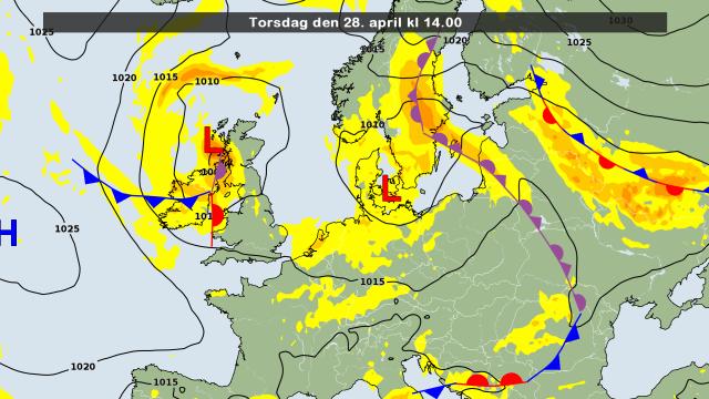 de weerkaart voor vandaag met nog steeds het bepalende laag Uta boven het zuiden van Scandinavië. Bron: DMI
