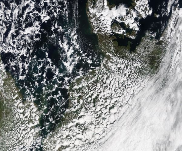 Op de satellietbeeld van vanmiddag is goed te zien hoe de buien zich boven land verder ontwikkelen. Voor de oriëntatie: Denemarken ligt boven in het midden. = De 'plukjes' boven de Noordzee groeien boven land steeds verder en clusteren samen tot georganiseerde buien. Bron: NASA.
