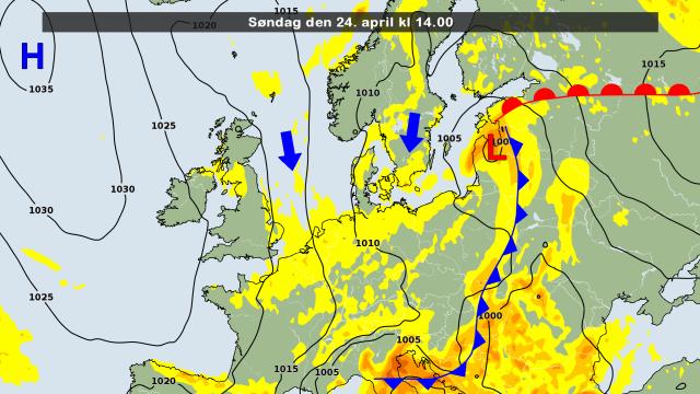 De weerkaart voor vandaag met daarin getekend de aanvoer van koude lucht vanuit het noorden. Bron: DMI