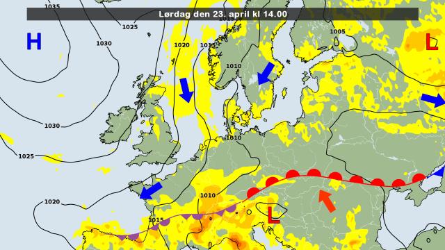 De weerkaart voor vandaag. Met een noordelijke stroming wordt koudere lucht aangevoerd. Bron: DMI