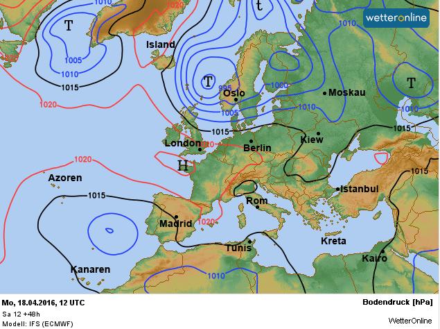 De weerkaart voor morgen met daarop het hogedrukgebied Norbert dat bij ons voor een weersverbetering zorgt. Bron: ECMWF