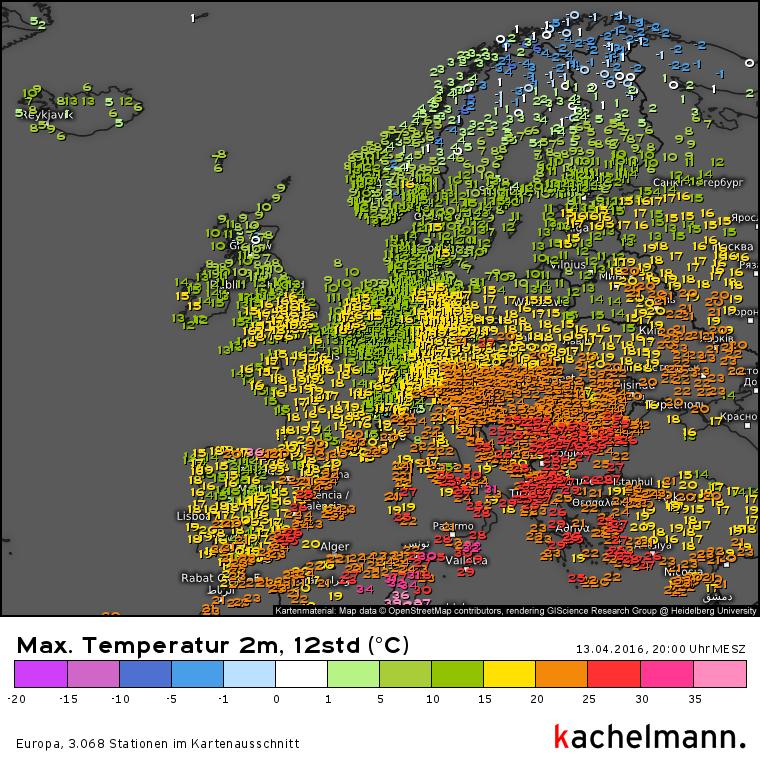 De maxima in Europa van gisteren. Bron: Kachelmannwetter.com