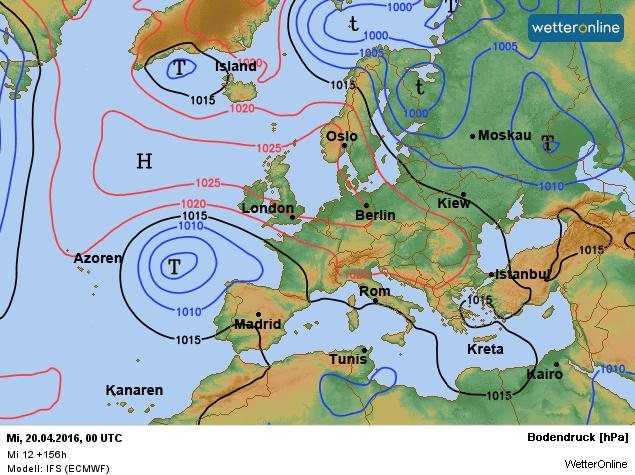 De weerkaart voor woensdag. Hogedruk wordt bepalend voor ons weer. Bron: ECMWF.