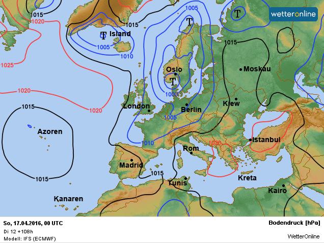 de weerkaart voor het weekend. Lagedruk is bepalend voor ons weer. Bron: ECMWF.