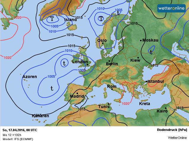 De weerkaart voor het komende weekend. Bron: ECMWF.