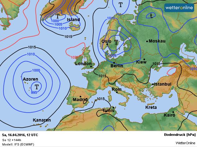 Een lagedrukgebied boven Scandinavië zorgt komend weekend voor een koude noordwestelijke stroming. Bron: ECMWF.