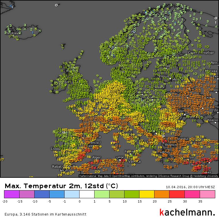 De maxima in Europa. Bron: Kachelmannwetter.com