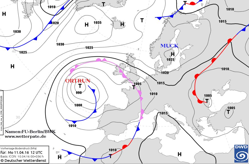 de weerkaart voor vandaag met een depressie ten westen van de Golf van Biskaje. Bron: DWD