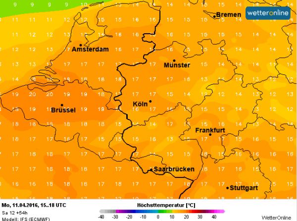 Morgen worden maxima verwacht tussen de 15 en lokaal 20°. Alleen op de Wadden zijn de maxima wat lager.
