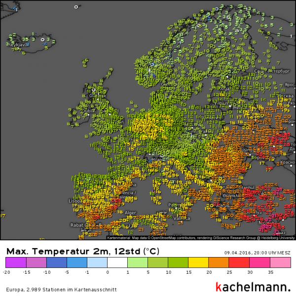 De hoge temperaturen worden steeds meer naar het zuidoosten verdreven. Bron: Kachelmannwetter.com