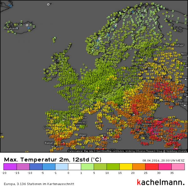 De warmte in Europa beperkt zich tot het zuidoosten en dan met name in de regio Turkije. Bron: Kachelmannwetter.com