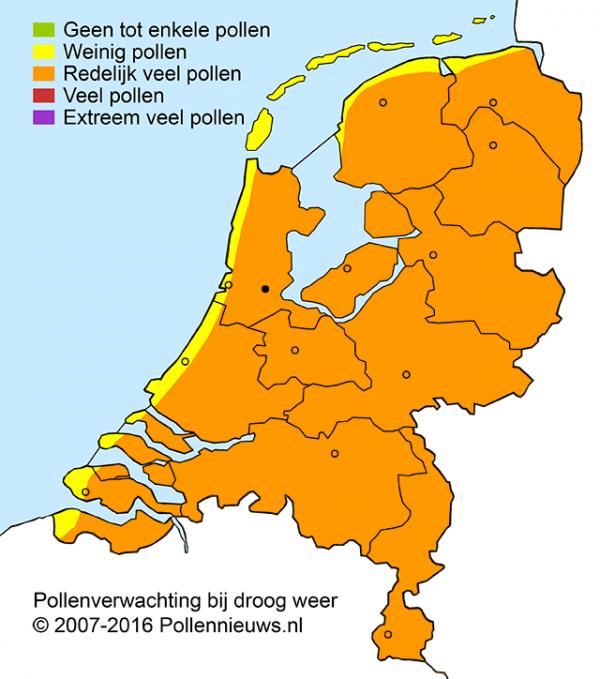 "De pollendruk is vandaag erg hoog. Bron: <a href=""http://www.pollennieuws.nl/"">pollennieuws.nl</a>"
