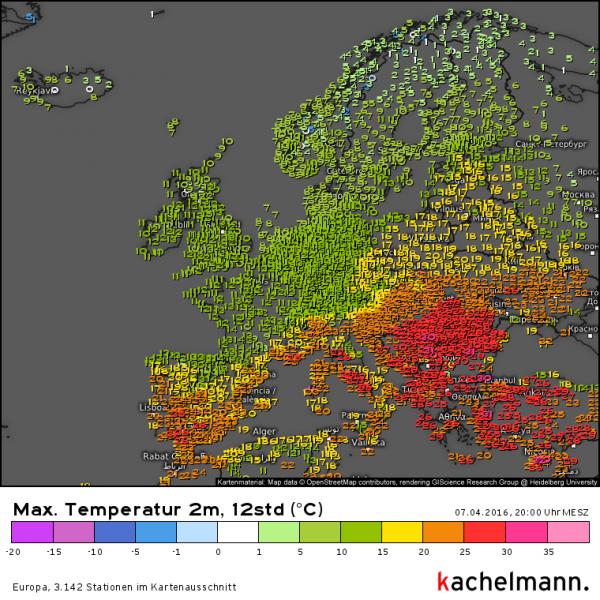 Nog altijd zit de warmte in de zuidoostelijke helft van Europa. Bron: Kachelmannwetter.com