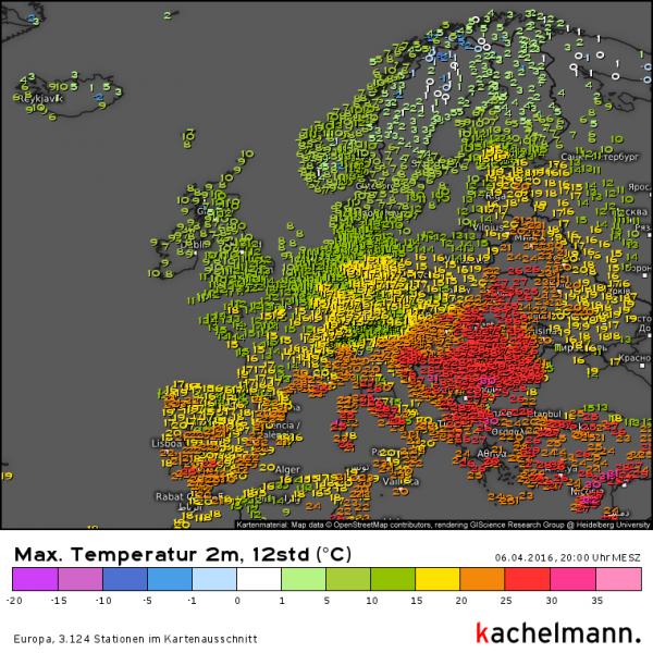 De maxima in Europa waren weer het hoogst in de zuidoostelijke helft. Bron: Kachelmannwetter.com
