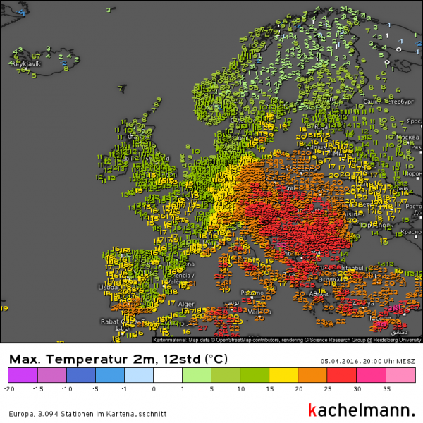 In de oostelijke en zuidoostelijke helft van Europa kwamen zomerse en lokaal zelfs tropische temperaturen voor. Bron: Kachelmannwetter.com